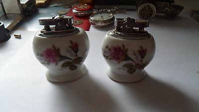 matching pair of vintage porcelain/china table lighters