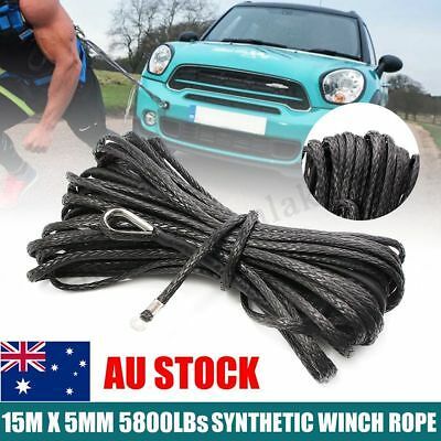 Synthetic Winch Rope 5MMx15M 5800LBs Winch Cable for Winches ATV Vehicle Truck