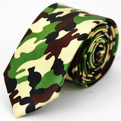 Mens Slim Tie Party Club Necktie Skinny Street Fashion Camouflage Ties for Men