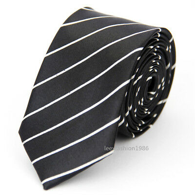 Mens Slim Wedding Tie Business White Black Necktie Skinny Fashion Ties for Men