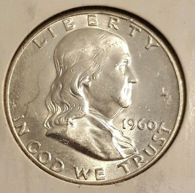 Beautiful Uncirculated 1960P Franklin Half Dollar Very High Ms Details