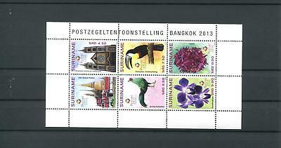 Suriname Mnh 2013 Birds Flowers Temple 2112