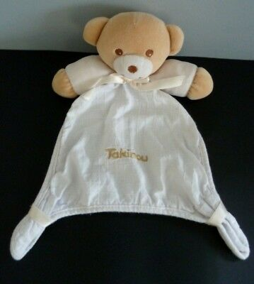 H7- Doudou Plat Ours Takinou Blanc Carre Broderie  Dore Or - Tbe