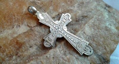 "UNIQUE 19th CENTURY SOLID SILVER ""84"" ORTHODOX ""SKULL"" CROSS with ST. JOB ICON"