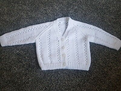 Brand new hand knitted baby cardigan 0-3 months