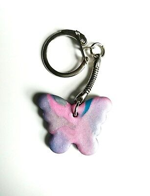 Cute Teal & Pink Polymer Clay Butterfly Key Ring