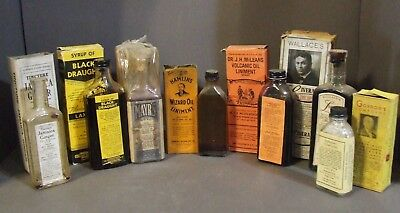 Lot Of 7 Antique Pharmacy Quack Medicine Bottles With Boxes Volcanic Oil Tonics