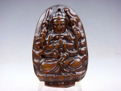 Old Nephrite Jade Hand Carved *4 Arms Kwan-Yin Buddha* Pendant #01221907