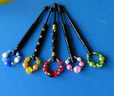 5 Black Wooden Turned Lace Bobbins with Spangles, 1 With Wire & Beads.
