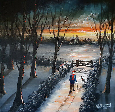 Mal.burton Original Art Oil Painting  Be Home In Time For Supper Boy  12X12 Inch