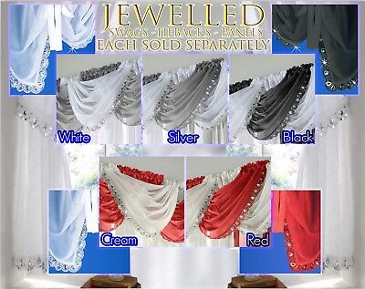 JEWELLED Crystal Sequin Sparkle Voile Curtain Swag Ready Made Single Swag