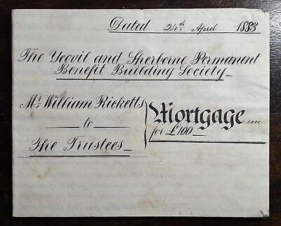 1883 Vellum Indenture Ricketts  re Yeovil & Sherborne Building Society Mortgage