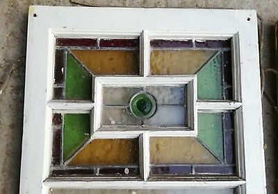 4 PRETTY RECLAIMED SASH WINDOWS WITH STAINED GLASS PANELS ref M1236