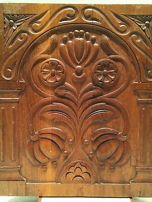 ANTIQUE 17th CENTURY HAND CARVED DECORATIVE WOOD PANEL CABINET MAKER SAMPLE