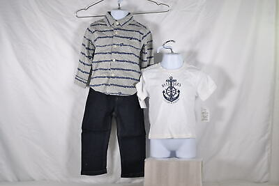 Baby Boy's Nautica 3 Piece Set with Woven Tee, T-Shirt, and Jeans, Grey,