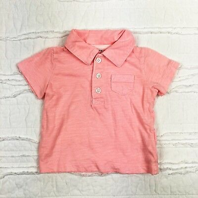 Carters Baby Boy Shirt 3 Months Pink Polo Short Sleeve