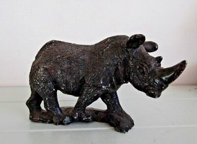 Antique Chinese Hand Carved Black Rhino Stone Sculpture Oriental Feng Shui