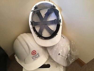 3 White Site Safety Helmets Hard Hats All Adjustable Sizing