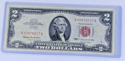 Two Dollar 1963 Bill, Crisp $2 Note  Paper currency USA Jefferson Red Seal