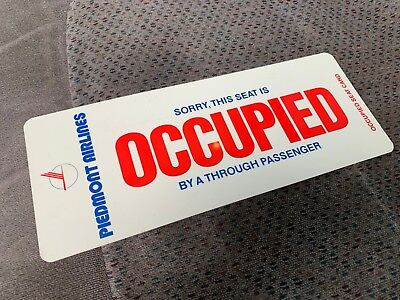 Piedmont Airlines Occupied Seat Card White Background ca. 1960's-1970's Airplane