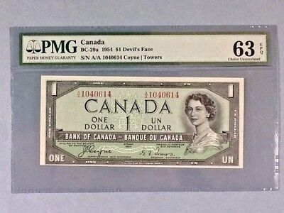 Canada BC-29a; 1 Dollar Devil's Face; 1954 Coyne/ Towers; PMG Graded 63 EPQ