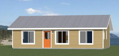 36x24 House -- 3 Bedroom 2 Bath -- 864 sq ft -- PDF Floor Plan -- Model 5