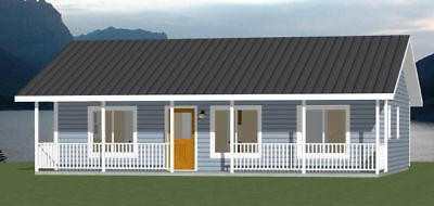 36x24 House -- 2 Bedroom 2 Bath -- 864 sq ft -- PDF Floor Plan -- Model 3