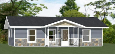36x24 House -- 1 Bedroom 1 Bath -- 864 sq ft -- PDF Floor Plan -- Model 1A