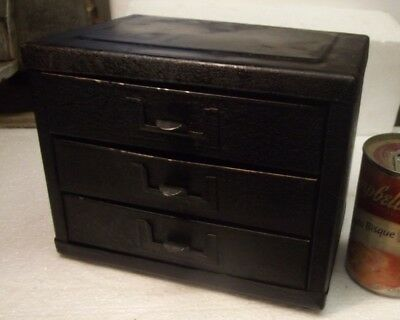 Vintage Machinist cabinet 8 x 6 1/4 x 5 1/2 crackled matted finish tin
