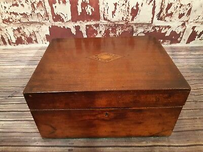 Antique Vintage Old Wooden Writing Slope Box Inlaid Design Campaign