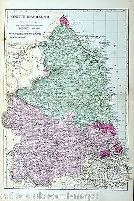 NORTHUMBERLAND, 1883 - Original Antique County Map - BACON.