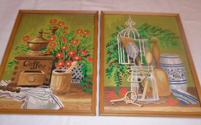 Rare Vtg Pair Paint by Number Paintings Kitchen Still Life 12 x 16 Framed VGC