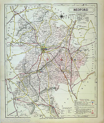 BEDFORDSHIRE - Original Antique County Map -  LETTS - 1884, suitable for framing