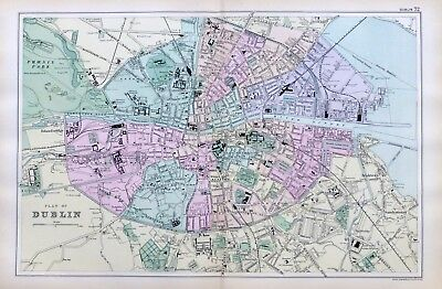 DUBLIN, 1899  -  Original double page Antique City Map / Plan , Bacon.