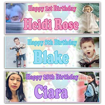 Personalised Birthday Banner Photo Children Baby Adult Party Decoration Poster Celebration 150x90cm