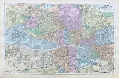 GLASGOW, 1899  -  Original double page Antique City Map / Plan , Bacon.