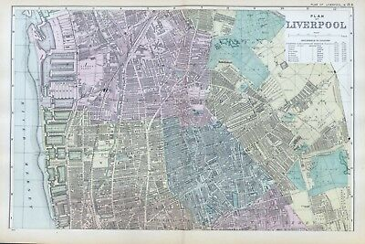 LIVERPOOL ( N ), 1899  -  Original double page Antique City Map / Plan , Bacon.