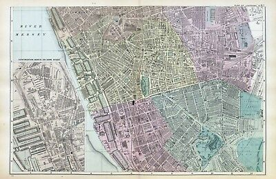 LIVERPOOL ( S ), 1899  -  Original double page Antique City Map / Plan , Bacon.