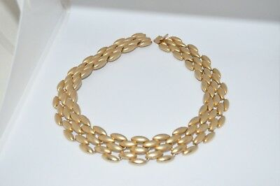 """Vintage Gold Tone Chunky Linked Choker Necklace Signed E. Pearl 17"""""""