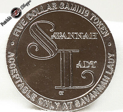 $5 Slot Token Coin Savannah Lady Cruise Ship Casino 1993 Ct Mint Georgia Gaming