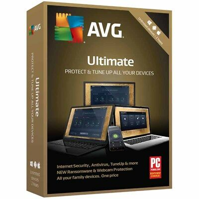 AVG Ultimate 2019 Unlimited Devices 2 Yrs Antivirus/Ransomware/Webcam Protection