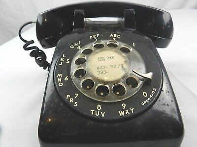 Vintage Bell System Western Electric 500MM Black Rotary Dial Telephone Phone