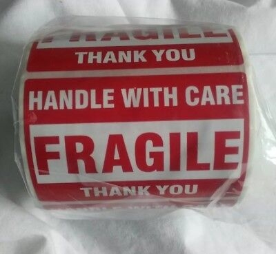 FRAGILE HANDLE WITH CARE Thank You 2x3 RED Medium Stickers Roll of 500 Labels!!