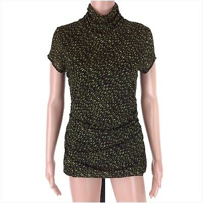 5054fb2da Chaus Women's Green Printed Nylon Ruched Short Sleeve Stretchy Top Size M  NWOT