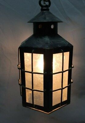 Arts and Crafts Copper Iced Glass Pendant Light Fixture Lantern Mission 102-19C