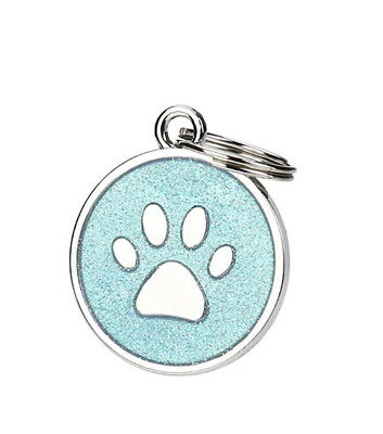 Pet ID Tag,  Personalised Engraved Glitter Paw Print Tag Dog Cat Pup Identi