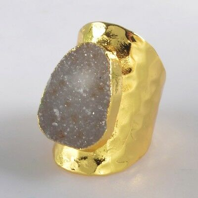 Scratched Size 6.5 Natural Agate Druzy Geode Ring Gold Plated H129279