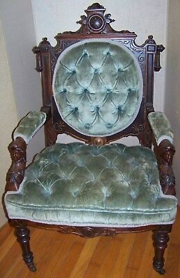 Eastlake victorian carved chair original finish walnut, mahogany