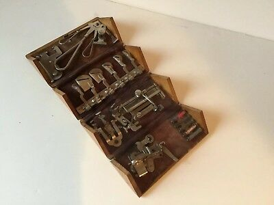 Vintage Singer Treadle Sewing Machine Puzzle Box Attachments No 11 Full Set 1889