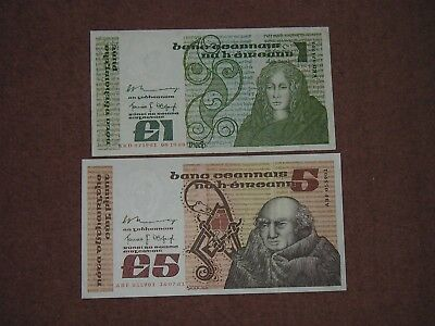 Southern Ireland TWO notes £1 8 October 1980, £5 16 July 1981